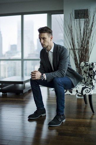 How to wear: black suede double monks, navy skinny jeans, white dress shirt, charcoal wool blazer