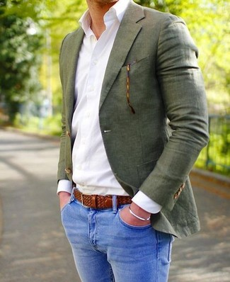 How to wear: brown woven leather belt, blue skinny jeans, white dress shirt, olive blazer