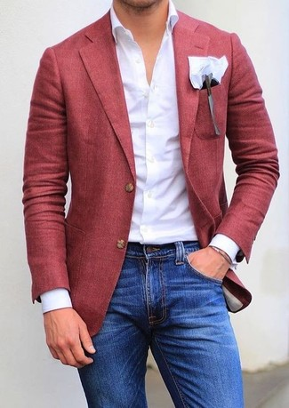 How to wear: white pocket square, blue skinny jeans, white dress shirt, red blazer