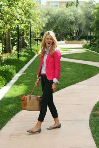 How to wear: charcoal leather loafers, black skinny jeans, white dress shirt, hot pink blazer