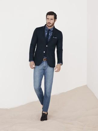 How to wear: dark brown suede tassel loafers, blue skinny jeans, navy paisley dress shirt, black blazer