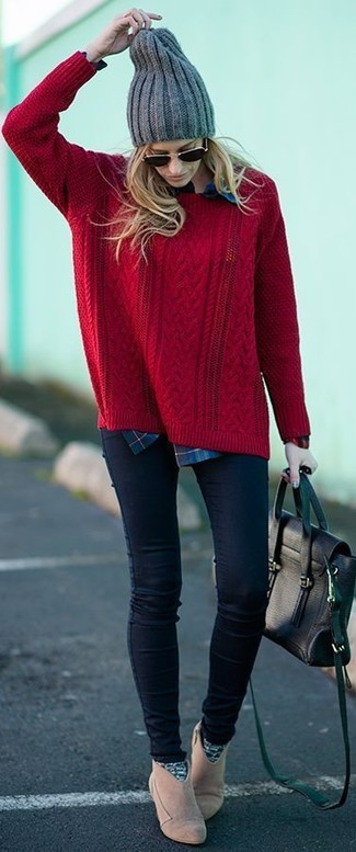 Cable Knit Wool Turtleneck