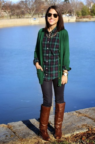 How to wear: brown leather knee high boots, navy skinny jeans, dark green plaid dress shirt, dark green cardigan
