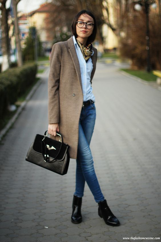 6f01b6cb8974d Which Skinny Jeans To Wear With a Brown Coat (32 looks   outfits ...