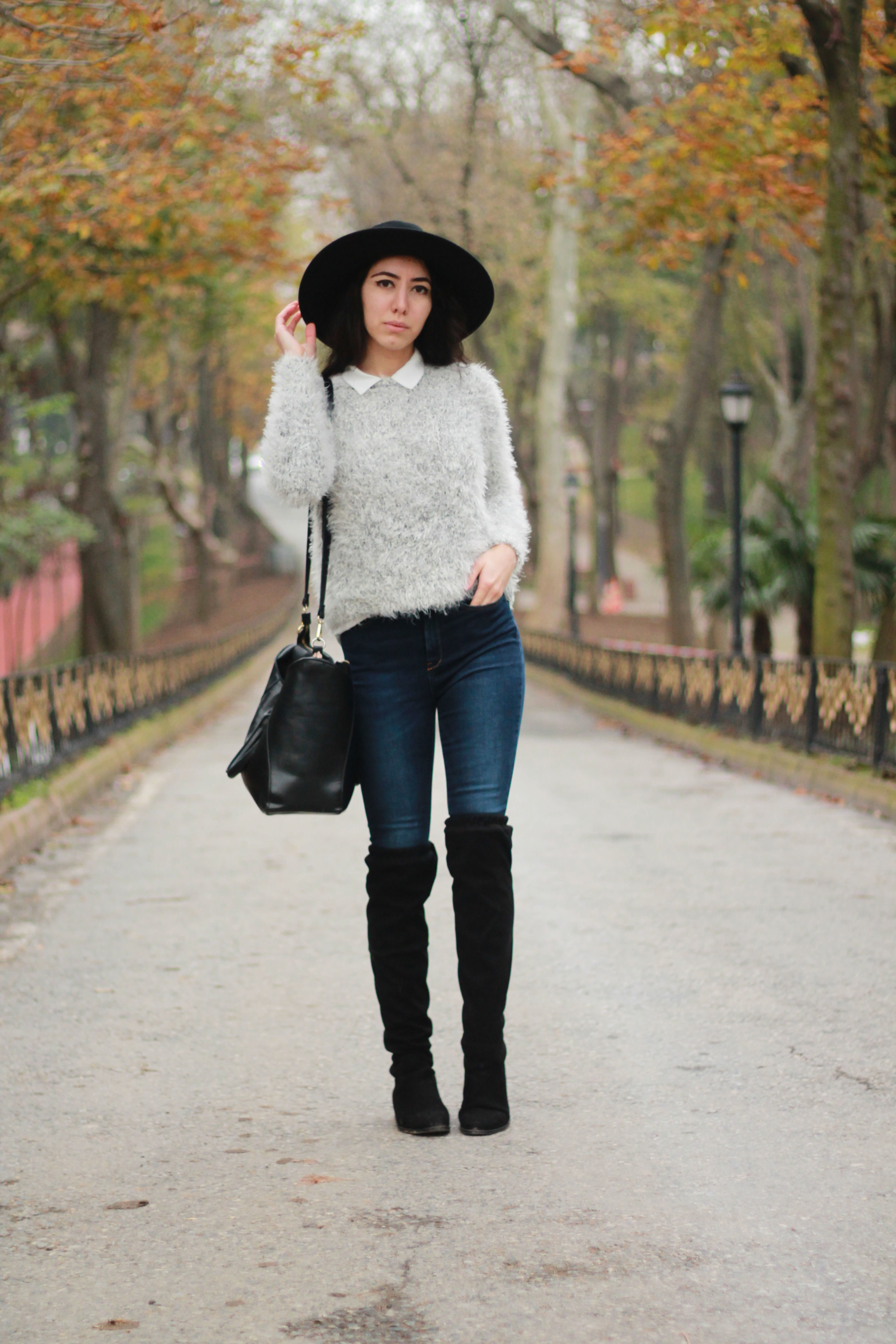Women S Black Suede Over The Knee Boots Navy Skinny Jeans White