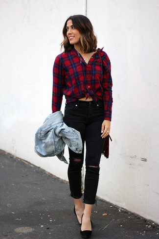 How to wear: black suede pumps, black ripped skinny jeans, red and navy plaid dress shirt, light blue denim jacket