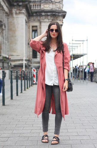 Women's Black Leather Flat Sandals, Charcoal Skinny Jeans, White Dress Shirt, Pink Duster Coat