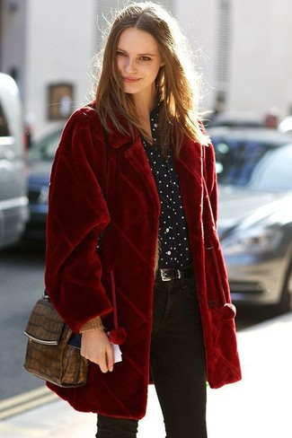 How to wear: brown snake leather crossbody bag, black skinny jeans, black and white polka dot dress shirt, red fur coat