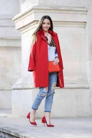 How to wear: red suede pumps, light blue ripped skinny jeans, multi colored print dress shirt, red fur collar coat