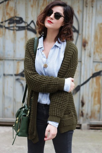 How to wear: dark green leather crossbody bag, charcoal skinny jeans, light blue dress shirt, olive knit open cardigan