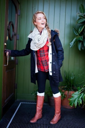 How to wear: tobacco leather knee high boots, navy skinny jeans, red and navy plaid dress shirt, navy parka