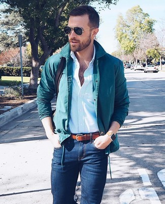 How to wear: dark brown leather messenger bag, navy skinny jeans, light blue vertical striped dress shirt, teal shirt jacket