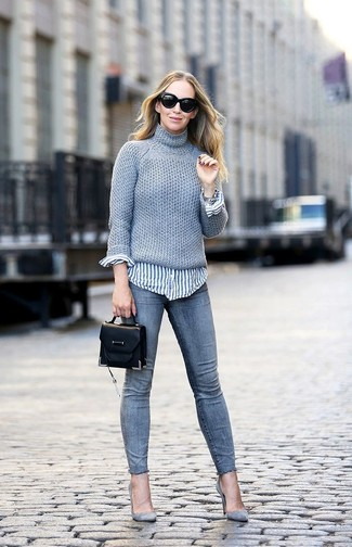 How to wear: grey suede pumps, grey skinny jeans, white and blue vertical striped dress shirt, grey knit turtleneck