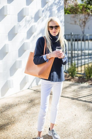How to wear: grey athletic shoes, white skinny jeans, white and blue vertical striped dress shirt, navy knit turtleneck