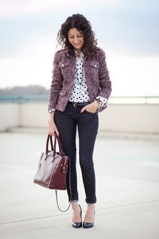 How to wear: black leather pumps, black skinny jeans, white and black polka dot silk dress shirt, purple tweed jacket