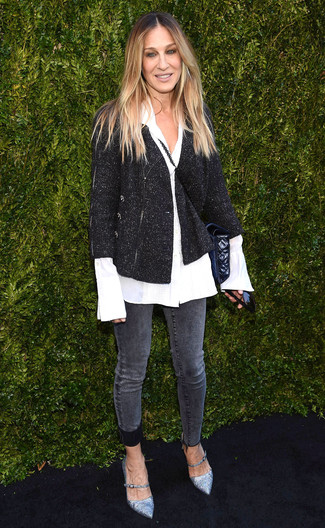 How to wear: silver leather pumps, charcoal skinny jeans, white dress shirt, black tweed jacket