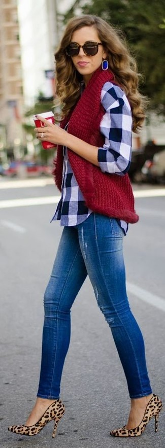 How to wear: tan leopard suede pumps, blue ripped skinny jeans, navy and white gingham dress shirt, burgundy knit vest