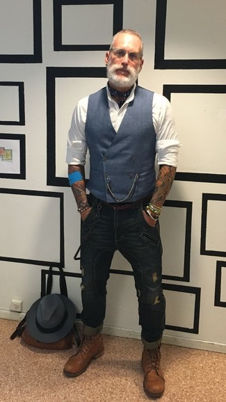 How to wear: brown leather casual boots, navy ripped skinny jeans, white dress shirt, navy waistcoat