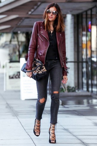 How to wear: black suede gladiator sandals, charcoal ripped skinny jeans, black henley shirt, burgundy leather biker jacket