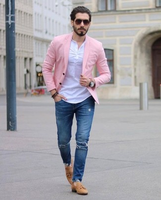 How to wear: tan suede tassel loafers, blue ripped skinny jeans, white henley shirt, pink blazer