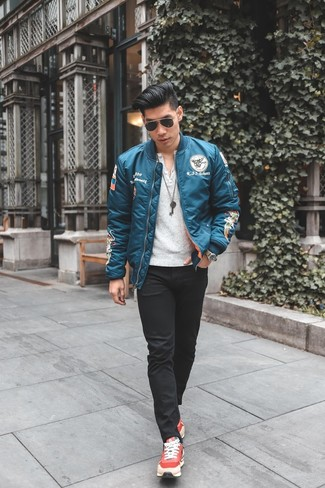 How to wear: red athletic shoes, black skinny jeans, white henley shirt, aquamarine bomber jacket