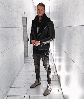 How to wear: grey suede chelsea boots, charcoal ripped skinny jeans, black and white horizontal striped hoodie, black shearling jacket