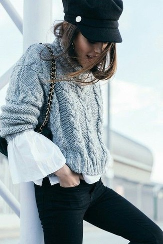 How to wear: black suede crossbody bag, black skinny jeans, white ruffle long sleeve blouse, grey knit cable sweater