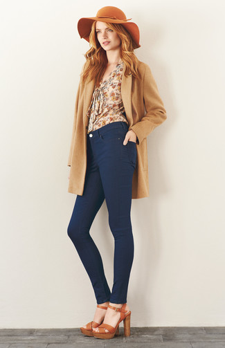 How to wear: tan leather heeled sandals, navy skinny jeans, beige floral long sleeve blouse, camel coat