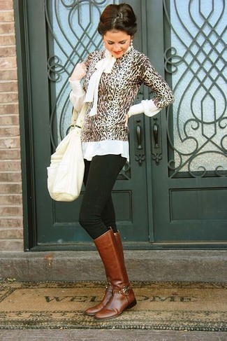 How to wear: brown leather knee high boots, black skinny jeans, white long sleeve blouse, brown leopard crew-neck sweater