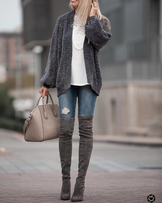 How to wear: charcoal suede over the knee boots, navy ripped skinny jeans, white crochet long sleeve blouse, charcoal knit open cardigan