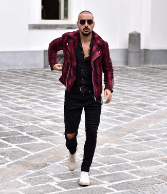 How to wear: white suede chelsea boots, black ripped skinny jeans, black long sleeve shirt, red and black plaid biker jacket