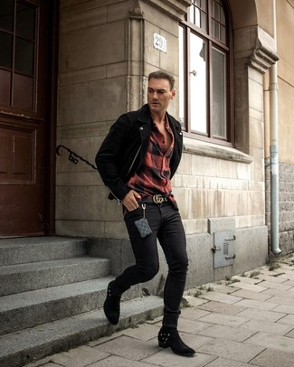 How to wear: black suede cowboy boots, black skinny jeans, red and black check flannel long sleeve shirt, black suede biker jacket