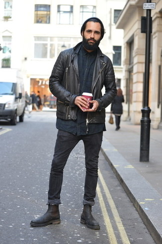 How to Wear Black Leather Chelsea Boots For Men: If you enjoy the comfort look, pair a black leather biker jacket with black skinny jeans. To add a bit of classiness to this look, introduce a pair of black leather chelsea boots to the equation.
