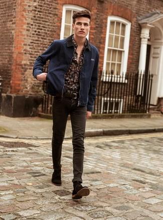 How to wear: dark brown suede casual boots, dark brown skinny jeans, black floral long sleeve shirt, navy denim bomber jacket