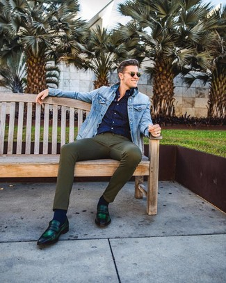 How to wear: dark green leather loafers, olive skinny jeans, navy polka dot long sleeve shirt, light blue denim jacket