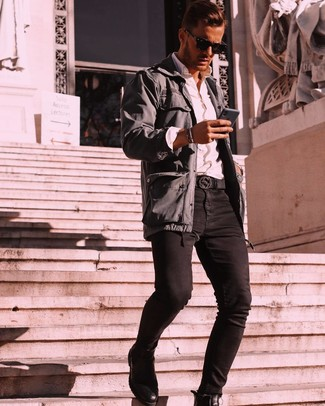 How to wear: black leather chelsea boots, black skinny jeans, white long sleeve shirt, charcoal field jacket