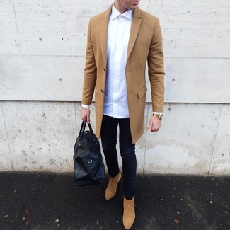How to Wear Tan Suede Chelsea Boots For Men: For a winning relaxed option, you can rely on this pairing of a camel overcoat and navy skinny jeans. Want to dress it up when it comes to footwear? Complete this outfit with a pair of tan suede chelsea boots.