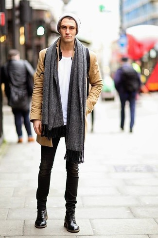 How to Wear a Grey Scarf For Men: This off-duty combination of a camel overcoat and a grey scarf is ideal when you need to look nice in a flash. Black leather casual boots will bring a different twist to an otherwise mostly dressed-down look.