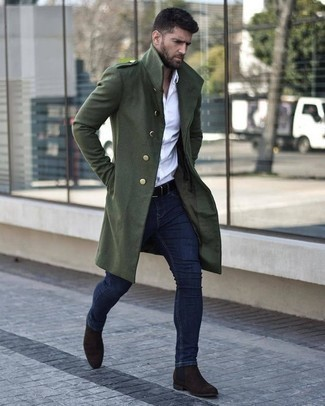 How to Wear Dark Brown Suede Chelsea Boots For Men: You'll be amazed at how extremely easy it is for any man to get dressed like this. Just a dark green overcoat combined with navy skinny jeans. Turn up the classiness of this look a bit by sporting dark brown suede chelsea boots.