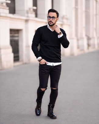 How to wear: black leather casual boots, black ripped skinny jeans, white long sleeve shirt, black v-neck sweater