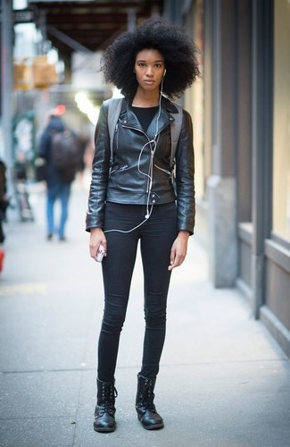 How to wear: black leather lace-up flat boots, black skinny jeans, black long sleeve t-shirt, black leather biker jacket