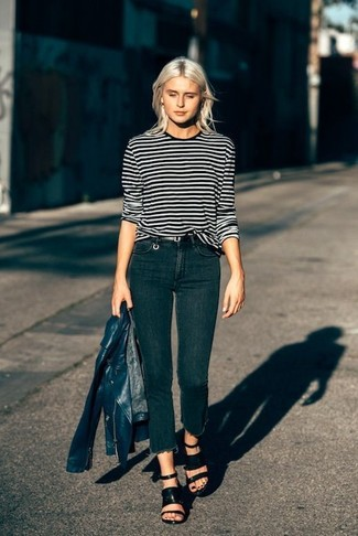 How to wear: black leather heeled sandals, black skinny jeans, black and white horizontal striped long sleeve t-shirt, navy leather biker jacket