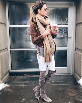 How to Wear a Tan Scarf In Warm Weather For Women: Rock a brown suede biker jacket with a tan scarf, if you want to dress for comfort but would also like to look boss. A pair of grey suede over the knee boots effortlessly revs up the chic factor of any ensemble.