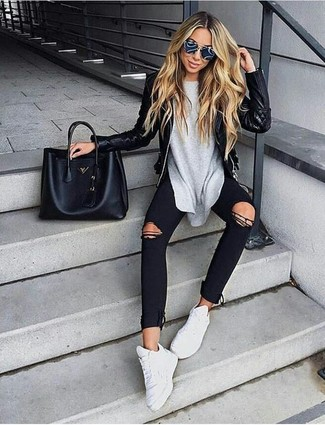 How to wear: white athletic shoes, black ripped skinny jeans, grey long sleeve t-shirt, black quilted leather biker jacket