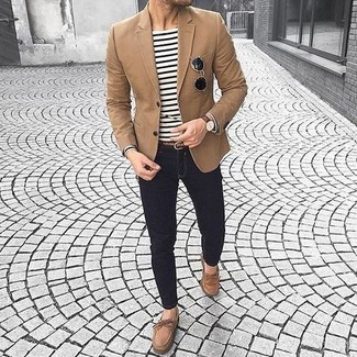 How to wear: brown suede boat shoes, black skinny jeans, white and black horizontal striped long sleeve t-shirt, brown blazer