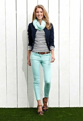 How to wear: brown leather heeled sandals, mint skinny jeans, black and white horizontal striped long sleeve t-shirt, navy blazer