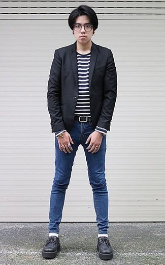 How to Wear Blue Skinny Jeans For Men: Go for a straightforward but at the same time casually stylish choice by wearing a black blazer and blue skinny jeans. For something more on the dressier side to complement your look, complement this ensemble with a pair of black chunky leather derby shoes.