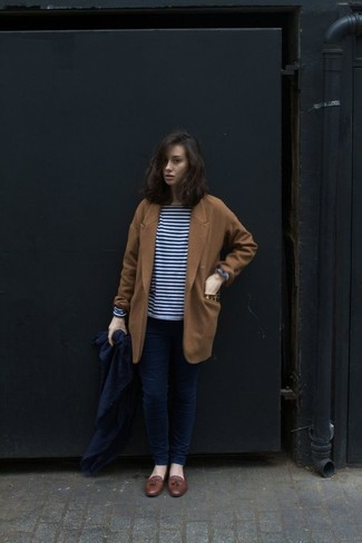 How to wear: brown leather tassel loafers, navy skinny jeans, navy and white horizontal striped long sleeve t-shirt, tobacco coat