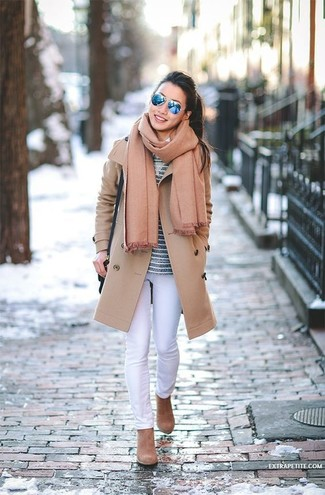 How to wear: tan suede ankle boots, white skinny jeans, navy horizontal striped long sleeve t-shirt, camel coat