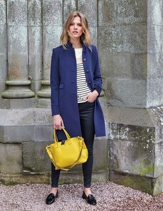 How to wear: black leather tassel loafers, black skinny jeans, white and black horizontal striped long sleeve t-shirt, navy coat
